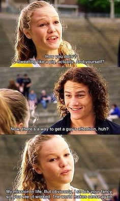 Julia Stiles and Heath Ledger in 10 Things I Hate About You. Funny love this scene Love Movie, Movie Tv, 90s Movies, Throwback Movies, Perfect Movie, Indie Movies, Movies Showing, Movies And Tv Shows, Film Quotes