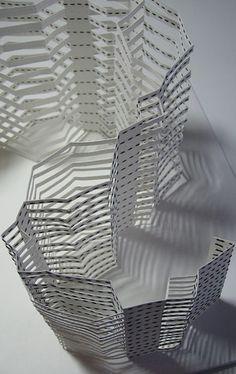"""Chris Berry - Textile Study Group """"Canale Grande"""" An exploration of European Renaissance architecture; paper, stitching. 26cm x 26cm x 18cm"""