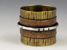 Mixed Metal Ring Band Textured Band Copper by MicheleGradyDesigns, $55.00