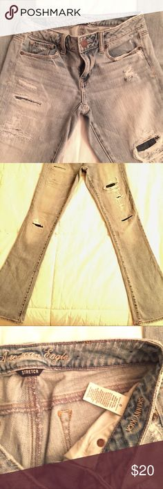 American Eagle stretch, Skinny Kick Light Denim. Good condition, light colored denim jeans with dark denim in areas with rips. American Eagle Outfitters Jeans Boot Cut
