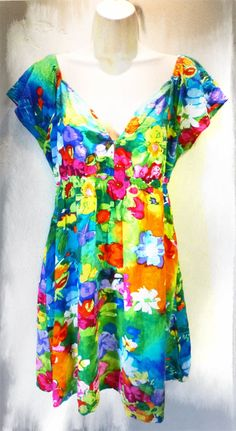 5484ed8b3c4 Vintage 1990s Watercolor Babydoll Mini Dress Jams World Large Rayon Spring Hawaiian  Tropical Resort Short Shirt