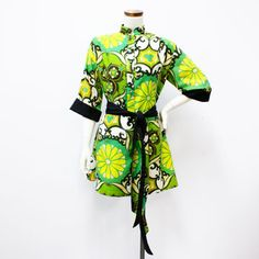 Asian Print Tunic Green. The Modern Historic specializes in 1940s through 1970s vintage.