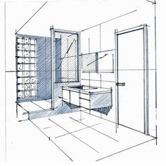 Bathroom sketching..! #tbt #visualize #fit #perspective drawing #ink #client #mockup #interiordesign #tkdesign