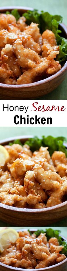 Honey sesame chicken - the easiest and crazy delicious chicken recipe in a sticky sweet and savory honey sesame sauce that you just can't stop eating | rasamalaysia.com: