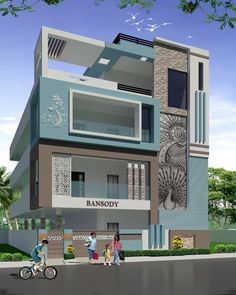 Image may contain: sky, house, tree and outdoor House Outer Design, House Floor Design, 3 Storey House Design, House Outside Design, Bungalow House Design, Front Design, Modern Exterior House Designs, Modern House Design, House Elevation