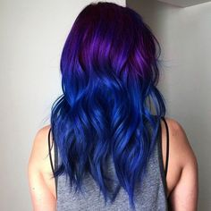 Blue Purple Hair Color Ideas, Mixing some colors always work when it comes to make your appearance both charming and unique. It is same for blue and purple too. This hair color sty. Royal Blue Hair, Blue Purple Hair, Dark Blue Hair, Dyed Hair Blue, Ombre Hair Color, Cool Hair Color, Purple Ombre, Navy Hair, Hair Colour