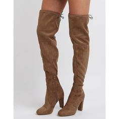 73dc0cb4664 Charlotte Russe Tie-Back Over-The-Knee Boots ( 20) ❤ liked
