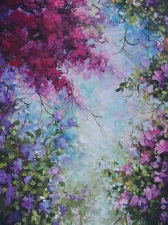 Pin by abbie lewis on watercolour painting akryl, bilder, maling. Garden Painting, Arte Floral, Painting Inspiration, Landscape Paintings, Abstract Landscape, Easy Nature Paintings, Deep Paintings, Romantic Paintings, Nature Artwork