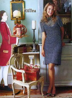 Платье крючком Knit Patterns, Dress Patterns, Knit Dress, Dress Outfits, Projects To Try, Short Sleeve Dresses, Inspiration, Clothes, Romance