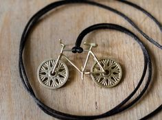 Bicycle brass pendant with moving wheels! 3d printed -travelling