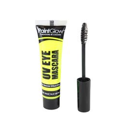 Paint Glow Blacklight Reactive UV Eye Mascara - UV Yellow. Neon yellow in normal light; glows radiant yellow in blacklight. 15ml per tube. Application brush included. Water proof and smudge proof. Blacklight only. Does NOT glow in the dark!.