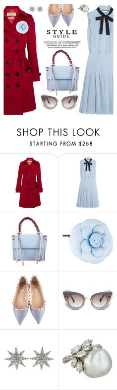 """""""Bits of blue"""" by pensivepeacock ❤ liked on Polyvore featuring Burberry, Gucci, Elena Ghisellini, Chanel, Valentino, Miu Miu and Bee Goddess"""