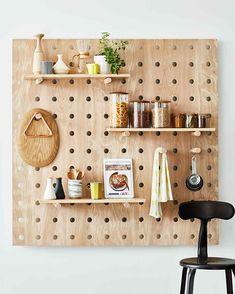 space-saver-peg-board-103085273-onecms Kitchen Wall Units, Smart Kitchen, Kitchen White, Pegboard Storage, Diy Storage, Paper Storage, Storage Design, Storage Ideas, Small Kitchen Organization