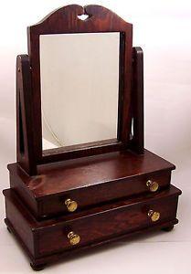 Vintage-Colonial-2-Drawer-Dresser-Top-Vanity-Swivel-Mirror-Cosmetic-Jewelry-Box