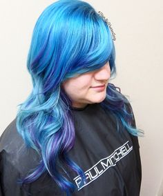 Blue hair with accents of mint green and purple 💜💚💙 #HairByKristenLentz