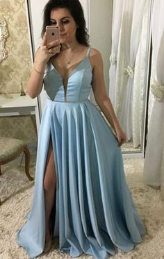 Split Blue Prom Dress, Sexy Spaghetti Straps Floor Length Long Prom Dresses, 2018 Evening Party Dress, Shop plus-sized prom dresses for curvy figures and plus-size party dresses. Ball gowns for prom in plus sizes and short plus-sized prom dresses for A Line Prom Dresses, Formal Evening Dresses, Formal Gowns, Elegant Dresses, Evening Gowns, Evening Party, Dresses Uk, Dresses Online, Blue Dresses