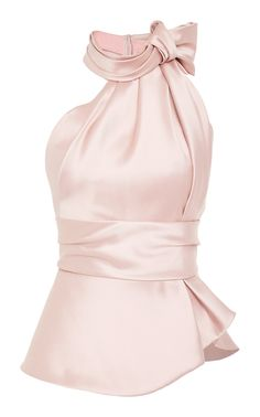 This **Brandon Maxwell** Halter Satin Scarf Top features a high scarf tie neck with a cinched waist. Fashion Clothes, Fashion Dresses, Women's Fashion, Fashion Design, Mode Outfits, Casual Outfits, Barbie Vintage, Scarf Top, Mein Style