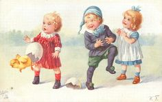 three children, chick flies out of large egg, left Easter Art, Easter Bunny, Devian Art, Children Images, Vintage Easter, Three Kids, Vintage Children, Vintage Postcards, Painting & Drawing