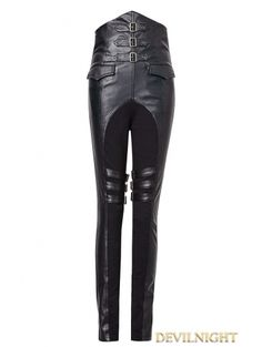 Black Gothic Military Style PU High-Waist Pants for Women