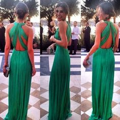 Green Deep V-neck Chiffon Long Prom Dress On Luulla Fashion Prom Dresses 2016 on Luulla
