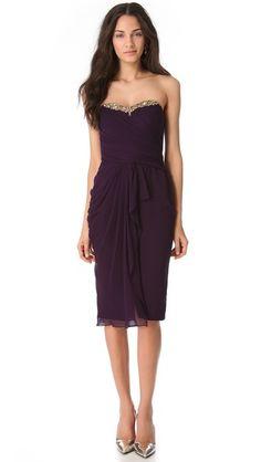 Marchesa Notte Cascade Strapless Dress