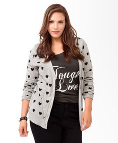 Forever 21+ - A knit cardigan featuring contrast hearts. Y-neckline with a six-button closure. Long sleeves. Ribbed trim. Medium weight. $27.80