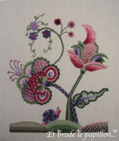 Jacobean embroidery by Anne Nicolas-Whitney, via Flickr