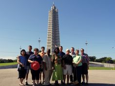 All but one of the U.S. group at Revolution Square in Havana. Photo taken by José Aurelio Paz during a trip for the COEBAC's 40th anniversary celebration at Iglesia Bautista Enmanuel (Emmanuel Baptist Church) in Ciego de Ávila, Cuba.