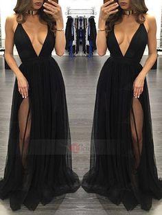 Tidebuy.com bietet hohe QualitätSexy Tüll Tief-V-Kragen Ärmellos AbendkleidWir haben mehr Arten fürAbendkleider 2017