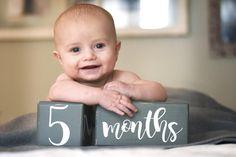 LARGE Baby Age Blocks Milestone Blocks Baby by BirchmarkDesigns