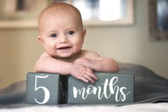 LARGE Baby Age Blocks, Milestone Blocks, Baby Shower Gift, Photo Blocks, Photo Prop by BirchmarkDesigns