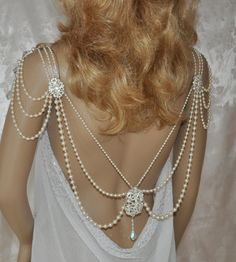 Swarovski Necklace,Back Necklace, back drop,shoulder necklace,Vintage Back Necklace,Vintage shoulder necklace,Back Draping,Wedding Jewelry