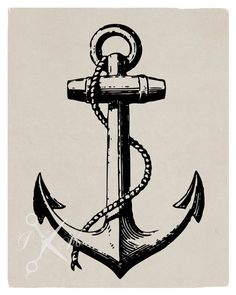 No.65 Digital Download Vector Graphic of a Vintage Anchor Illustration Showed On Paper, T-Shirt, Throw Pillow, Tote