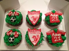 Liverpool FC themed cupcakes Liverpool Cake, Themed Cupcakes, Football, Soccer, Futbol, American Football, Soccer Ball, Rugby