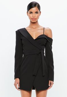 e041df58c8 Missguided - Peace Love Black One Shoulder Tuxedo Mini Dress Black Dress  Coat