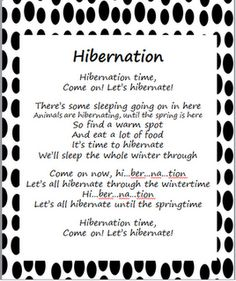 "Stepping into First Grade - Hibernation poem to the song ""Celebration"""