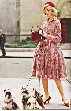 1950s woman walking mini schnauzers - Google Search