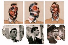 Francis Bacon, Three Studies for Portrait of George Dyer (on light ground), 1964. With Photos of George Dyer: John Deakin.
