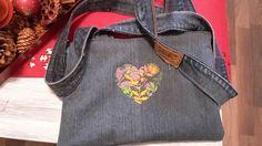 Einkaufstasche Upcycling Tasche Jeans Shopper, Innen gefüttert mit Zippe,Neuware