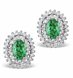 Emerald 4 x 6mm And Diamond 9K White Gold Earrings. #thediamondstoreuk #emeralds #diamonds #earrings #may #birthstone