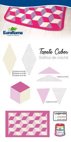 Tapete moderno com formato geométrico, perfeito para decoração, utilizando os barbantes EuroRoma 4/6 nas cores Pink (550), Lilás Claro (600) e Amarelo Bebê (400).