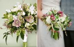 This light pink on the white flowers with greenery makes for a classic bouquet!