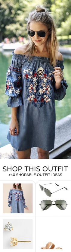 #summer #outfits  Grey Embroidered Off The Shoulder Dress
