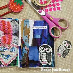 From iHannas on Instagram / Hanna Andersson: Hello Friday. Here is my stamped owl used in a mini art journal. Yay. New tutorial on how to make your own scrap die cuts on YouTube / my blog today. Happy weekend peeps.  #owl #owl2018 #minijournal #artjournal #scrapbooking #scrapdiecut #DIY #cutandpaste #stamped #stamping #cutmesomeslack #collectinginspiration #artjournalpage #newblogpost #diecuts #pyssel #visuelldagbok #artjournaling #creativity #yearofcreativehabits #makersgonnamake #onmytable…