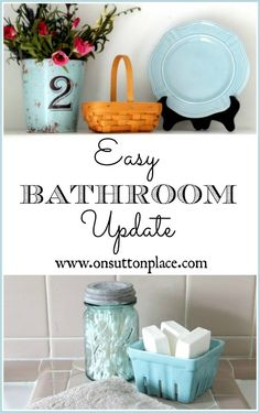 How To Update A Bathroom - a one day plan for freshening your tired bathroom for under a hundred dollars!
