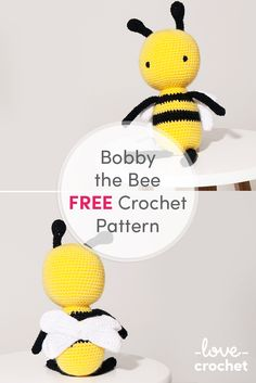 FREE Bobby the Bee crochet pattern available at LoveCrochet.Com