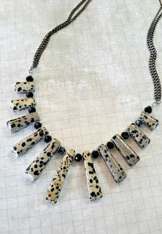 Black and White Necklace ~ Bib Necklace ~ Jasper Necklace ~ Dalmatian Jasper Bib Necklace ~ Dalmatian Jasper Graduated Bib Necklace by MissGawdysJewelry on Etsy https://www.etsy.com/listing/262521928/black-and-white-necklace-bib-necklace
