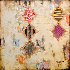 Jill Ricci brilliantly layers textures, pattern and color in mixed media paintings that at once evoke ancient Morrocan patterns and modern life.