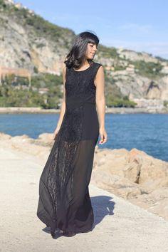 Lace long black dress 2