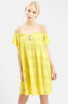Free shipping and returns on Topshop Lace Off the Shoulder Dress at Nordstrom.com. Dainty scallops trim the off-the-shoulder neckline of a tie-front dress cut from ethereal lace with intricate open-stitch detailing.